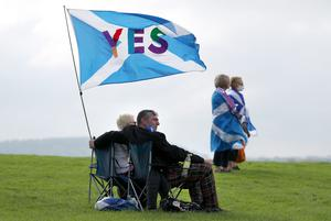 People take part in the All Under One Banner Scottish independence demonstration (Andrew Milligan/PA)