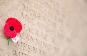 ALBERT, ENGLAND - MAY 17:  A poppy is left besides the names of fallen soldiers  in the Caterpillar Valley Cemetery on May 17, 2016 near Albert, France. This year will see the 100th anniversary of the start of the Battle of the Somme with a series of major ceremonies planned across the UK and France on July 1 to mark its centenary.  The Somme was one of the bloodiest battles of World War One with more than one million casualties over 141 days. The fighting began just before 7.30am on the morning of July 1, 1916 and was to become known as the British Army's bloodiest day.  (Photo by Matt Cardy/Getty Images)