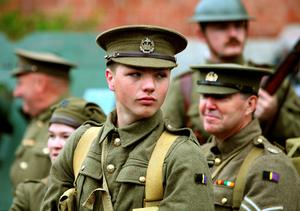 Liam Mercer, 20, from Elm Park, in Hornchurch, Essex, of the 10th Essex living historians group, in the uniform of a British soldier from WW1, prepares to march through Albert, in France, as part of the of the Commemoration of the Centenary of the Battle of the Somme, in France. PRESS ASSOCIATION Photo. Picture date: Thursday June 30, 2016. See PA story HERITAGE Somme. Photo credit should read: David Wilcock/PA Wire