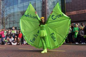 St Patrick's day celebrations in Belfast city centre Thousands lined the route from Belfast City Hall to Custom House Square where an open air concert will take place.  Photo Colm Lenaghan/Pacemaker Press PACEMAKER BELFAST   17/3/2016