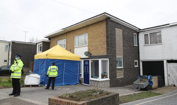 A tent covers the entrance to a house in Freemens Way in Deal (Steve Parsons/PA)