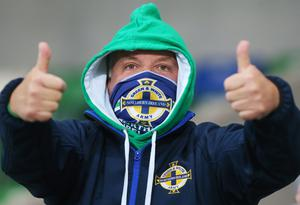 Press Eye - Belfast - Northern Ireland - 11th October 2020  UEFA Nations League 2021 Final Tournament at the National Stadium at Windsor Park, Belfast.  Northern Ireland Vs Austria.   Northern Ireland fans pictured at the match.  A limited number of fans were at the match who were practising social distance due to COVID-19 restrictions.  Picture by Jonathan Porter/PressEye