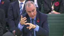 Director of GCHQ Sir Iain Lobban talking at the first parliamentary Intelligence and Security Committee (ISC) in London