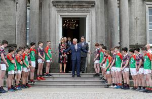 Press Eye - Belfast -  Northern Ireland - 22nd May 2019 - Photo by William Cherry/Presseye   The Prince of Wales is pictured at the Palace Demesne, Armagh during his 2 day visit to Northern Ireland. The rugby and GAA players present HRH with two shirts as he left the Palace.