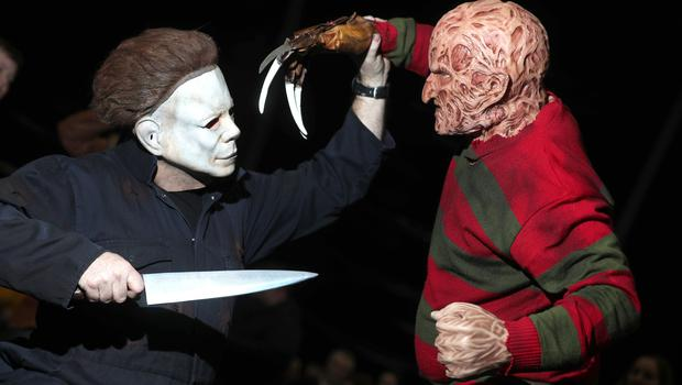 Mike Myers and Freddy Krueger fight it out at the Showtime Comic Con at the Titanic Exhibition centre, Belfast. (Photo by Colm O'Reilly, Sunday Life)