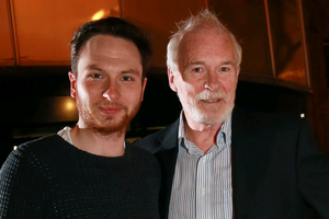 Ulster actor Ian McElhinney, who plays Ser Barristan Selmy in the cult Game of Throne series with Belfast Film Festival marketing manager Damian Connor at the exclusive preview of Episode 1, Season 4 at Moviehouse, Dublin Road, Belfast.