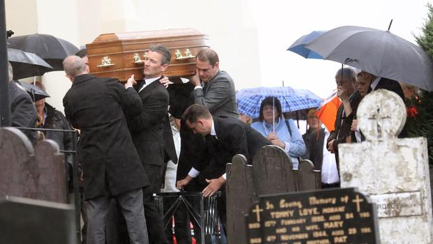 Family and friends carry the coffin of former Slieve Gullion councillor Geraldine Donnelly from St Patricks Church Crossmaglen. Pic by Peter Morrison