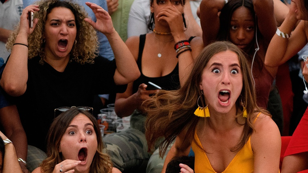 England fans react in horror to Colombia's equaliser at the end of extra time as they watch the FIFA 2018 World Cup Finals match between Colombia and England at Boxpark on July 3, 2018 in London, England. World Cup fever is building among England fans after reaching the Round of 16 in Russia.  (Photo by Leon Neal/Getty Images) *** BESTPIX ***