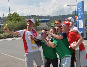 Northern Ireland v Poland Euro 2016 Group C Northern Ireland Fans Graeme Hamilton, Conor Munn, Scott Robinson and Luke McCreery  get a selfie with Polish Fans at   this afternoons Euro 2016 International  at the Allianz stadium in Nice on Sunday. Pic Colm Lenaghan/Pacemaker