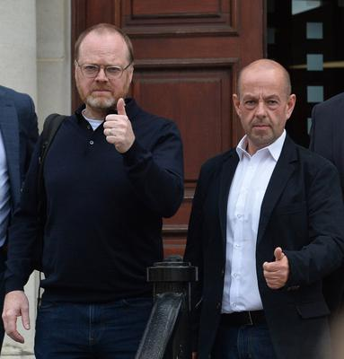Two journalists Trevor Birney and  Barry McCaffrey attend Belfast High Court on Monday. Photo Colm Lenaghan/Pacemaker Press