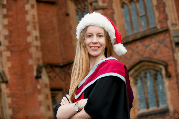 After graduating with a Geography degree from Queen's last year, Katherine Newell is celebrating again as she receives her Masters in Public Health today (Friday 9 December).  The Gloucestershire student Katherine, the first in her family to go to university, is currently working on her DPhil (PhD) in Medical Science having secured a funded place on the Medical Research Council's doctoral training programme.