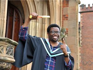 Franklin Anekwe from Nigeria who is graduating in Business Economics. During his studies Frankiln won the Shaw Memorial Prize award for the Best Performing Level 2 student in Business Economics, he now intends to start an International MBA at Queen's.