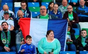A Northern Ireland fan in the stands before the International Friendly at Windsor Park, Belfast. PRESS ASSOCIATION Photo. Picture date: Friday May 27, 2016. See PA story SOCCER N Ireland. Photo credit should read: Niall Carson/PA Wire. RESTRICTIONS: Editorial use only, No commercial use without prior permission, please contact PA Images for further information: Tel: +44 (0) 115 8447447.