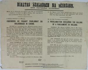 An item of historical interest, associated with the Irish Provisional Government (Rialtas Sealadach na hÉireann) is a very rare 1922 Proclamation, in relation to the matter of the Treaty between Great Britain and Ireland, which was signed in London on the 6th of December 1921
