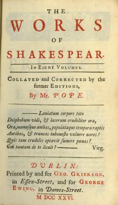 The Works of Shakespeare in eight volumes, printed in Dublin will go under the hammer.