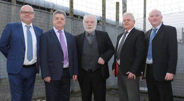 Former Beirut hostage Brian Keenan (centre) visited Magilligan Prison. Also included are (L-R) Andy Tosh, governor Magilligan Prison, Ronnie Armour, Fred Caulfield, and Damien O'Kane.