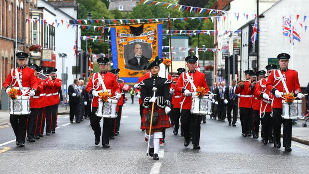 13th July 2015   ?William Cherry/Presseye  Lodges and bands leave Lisburn City Centre on their way to the field in Fullerton Park, Dunmurry. A total of 18 demonstrations are being held as part of the Twelfth of July commemorations around the Province.