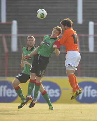 ?Russell Pritchard  11th July 2013 Football : Europa League Qualifier 2nd Leg Match between Glentoran and KR Reykjavik at The Oval, Belfast Glentorans David Howland and KR's Jonas Saevarsson in action at Thursday Nights 2nd Leg Europa League Qualifier. ?Russell Pritchard / Presseye