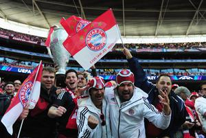 LONDON, ENGLAND - MAY 25:  FC Bayern Muenchen fans ahead of the UEFA Champions League final match between Borussia Dortmund and FC Bayern Muenchen at Wembley Stadium on May 25, 2013 in London, United Kingdom.  (Photo by Shaun Botterill/Getty Images)