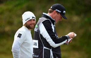 NEWCASTLE, NORTHERN IRELAND - MAY 28:  Andy Sullivan of England looks on during the First Round of the Dubai Duty Free Irish Open Hosted by the Rory Foundation at Royal County Down Golf Club on May 28, 2015 in Newcastle, Northern Ireland.  (Photo by Ross Kinnaird/Getty Images)