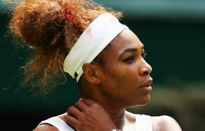 LONDON, ENGLAND - JUNE 25:  Serena Williams of the United States of America looks on during her Ladies' Singles first round match against Mandy Minella of Luxembourg on day two of the Wimbledon Lawn Tennis Championships at the All England Lawn Tennis and Croquet Club on June 25, 2013 in London, England.  (Photo by Julian Finney/Getty Images)