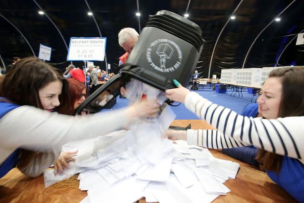 NI Assembly Election 2017 Count at Titanic Exhibition Centre in Belfast for Belfast East,  Belfast North, Belfast South and Belfast West constituencies.The boxes are opened for the count. Photo by Jonathan Porter / Press Eye.