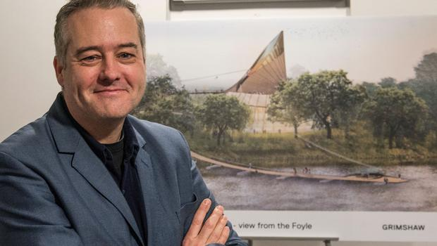 Derry born Dr Ian McCafferty from Grimshaw architects with an artistic rendition of the Acorn which will be at the centre of the proposed £67m Eden Project Foyle which has been developed by the River Foyle Gardens charity. The 250 acre site will be developed along the banks of the River Foyle linking the Boom Hall and Brook Hall estates. Inside the building there will be performance spaces, play areas with visitors having access to the roof, ziplines surrounded by trees and walkways in the grounds and along the river. There will be a water activity area, walled gardens and outside play areas all with the aim of attracting visitors helping to drive social, economic and environmental regeneration within the city. Picture Martin McKeown. 11.02.2o