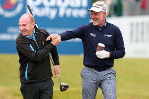 2015 Dubai Duty Free Irish Open: Dubai Duty Free Irish Open Pro-Am Hosted by the Rory Foundation at Royal County Down Golf Club, Newcastle, Northern Ireland. Stephen Watson and Darren Clarke Picture by Darren Kidd / Press Eye.