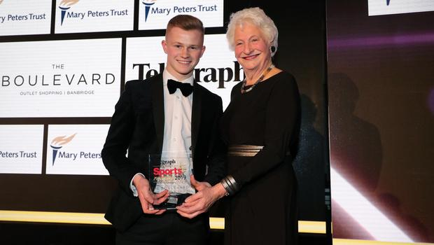 Press Eye - Belfast - Northern Ireland - 20th January  2020  Photo by Kelvin Boyes / Press Eye.  2019 Belfast Telegraph Sport Awards at the Crowne Plaza Hotel in Belfast.  AWARD 9  YOUNG PLAYER OF THE YEAR sponsored by Mary Peters Trust Lady Mary Peters, President of the Mary Peters Trust makes a presentation to Daniel Harper.