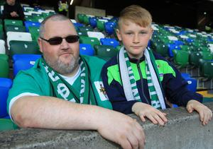 PressEye-Northern Ireland- 2nd June 2017-Picture by Brian Little/PressEye  Leslie and Daniel Burice from Newtownards  supporting Northern Ireland against  New Zealand  during Friday night's Vauxhall  International at  the National Football Stadium, Windsor Park ,Belfast. Picture by Brian Little/PressEye