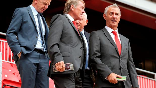 "Former Liverpool player and manager Kenny Dalglish with Ian Rush (right) during the opening of the Anfield Main Stand, Liverpool. PRESS ASSOCIATION Photo. Picture date: Friday September 9, 2016. Photo credit should read: Peter Byrne/PA Wire. RESTRICTIONS: EDITORIAL USE ONLY No use with unauthorised audio, video, data, fixture lists, club/league logos or ""live"" services. Online in-match use limited to 75 images, no video emulation. No use in betting, games or single club/league/player publications."