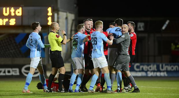 Ballymena's Adam Lecky pictured before getting a Red Card during this evenings game at Warden Street in Ballymena. Picture By: Arthur Allison/Pacemaker Press