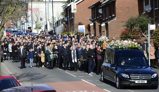 The Funeral of Ruth Maguire, took place at St Vincent de Paul Church in Belfast on Saturday March 23. Picture By: Arthur Allison/Pacemaker Press