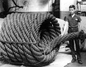 Flashback to 1963, when Belfast Ropeworks made this 19-inch circumference rope for the re-rigging of HMS Victory at Portsmouth. Pictured is Jim Thompson, a bogey-boy at the Belfast Ropework Co.Ltd.   26/9/1963