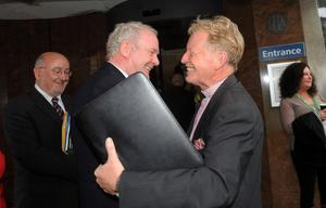 Pacemaker Press 9/9/2011 The Reverend David Latimer  is welcomed by Martin McGuinness  for Sinn Feins Ard Fheis  at Belfasts Waterfront Conference Centre for a two day event. The Presbyterian minister from Derry,  was  invited to speak at the conference by Sinn Fein's Martin McGuinness.. It was the first time a Presbyterian minister will have addressed the ard fheis Pic Colm Lenaghan/Pacemaker