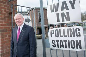 Sinn Fein candidate Martin McGuinness who voted in the Northern Ireland Assembly Election Polling Station in Derry. Pacemaker