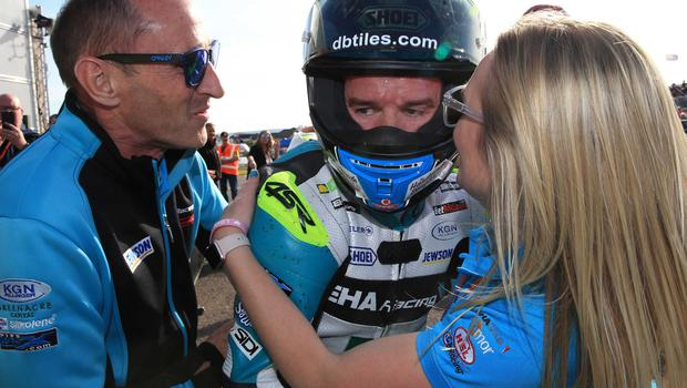 PACEMAKER BELFAST  17/05/2018 North West 200 2018 Alastair Seeley celebrates with his team after winning the super sport race during this evenings Supersport race in the Vauxhall International North West 200. Photo Stephen Davison/Pacemaker Press