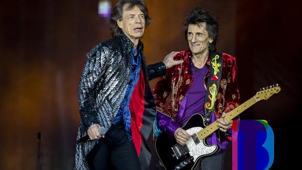 Mick Jagger and Ronnie Wood of the Rolling Stones on stage at Croke Park, Dublin for their first night of their 'STONES - NO FILTER' 2018 tour. Thursday 17th May 2018. Credit: Liam McBurney/RAZORPIX