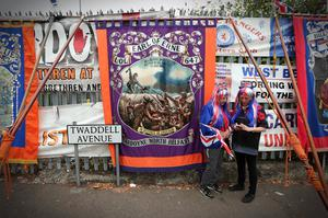 Supporters of the Orange Order at Camp Twaddell in North Belfast, a protest than has run for more than 15 months