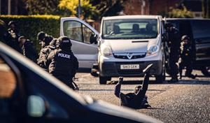 A man wearing a balaclava is shot by armed police during Line of Duty filming on Cavehill Road and Sunningdale Park on March 15th 2020 (Photo by Kevin Scott for Belfast Telegraph)