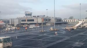 A picture from the plane after it returned to Belfast International Airport.