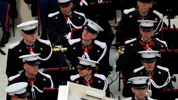 WASHINGTON, DC - JANUARY 20: The Marine band sits on the West Front of the U.S. Capitol on January 20, 2017 in Washington, DC. In todays inauguration ceremony Donald J. Trump becomes the 45th president of the United States.  (Photo by Joe Raedle/Getty Images)