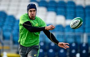 DUBLIN, IRELAND - NOVEMBER 24:  Rory Arnold of Australia releases a pass during an Australia training session at the RDS Arena on November 24, 2016 in Dublin, Ireland. (Photo by Dan Mullan/Getty Images)