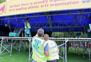 Putting the finishing touches to the stage