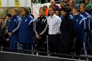 DUBLIN, IRELAND - OCTOBER 08:  Joachim Loew, head coach of Germany (R) looks on from the bench during the UEFA EURO 2016 Qualifier group D match between Republic of Ireland and Germany at the Aviva Stadium on October 8, 2015 in Dublin, Ireland.  (Photo by Ian Walton/Getty Images)