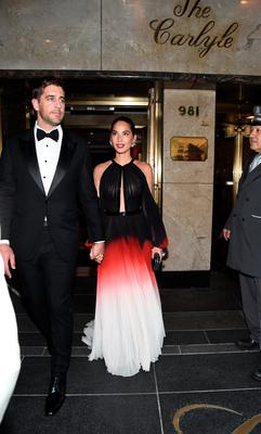 NEW YORK, NY - MAY 04: Aaron Rogers and Olivia Munn depart for the MET Gala 2015 from The Carlyle on May 4, 2015 in New York City.  (Photo by Ilya S. Savenok/Getty Images for The Carlyle)