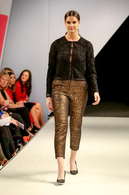 West Coast Cooler Fashion Week. Pictured: Niamh with a Black Brocade Jacket and a Gold Jacquard Trouser from M&S. Picture: Philip Magowan / PressEye (21st October 2016)