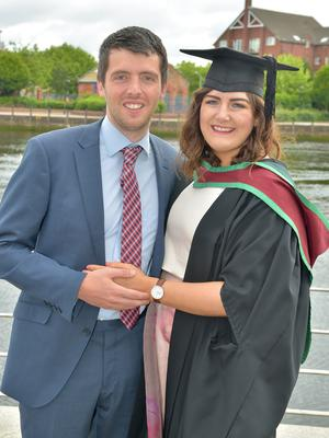 Pictured at Ulster University Summer Graduation 2017 at the Waterfront Hall are Scoot Rutherford and Melissa Duddy who Graduated MSC Manufacturing Management . Photo by simongraham.photography