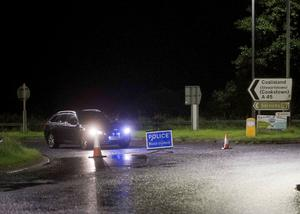 Police at the scene on of the Ballynakilly Road crash. Pic Steven McAuley/McAuley Multimedia