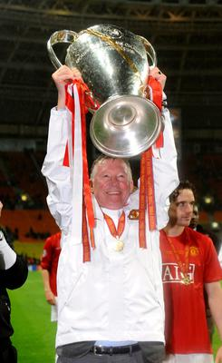File photo dated 21/05/2008 of Manchester United manager Sir Alex Ferguson with the trophy after the UEFA Champions League Final at the Luzhniki Stadium, Moscow. PRESS ASSOCITAION Photo. Issue date: Wednesday May 8, 2013. Sir Alex Ferguson will retire at the end of this season, Manchester United have announced. See PA Story SOCCER Man Utd. Photo credit should read: Owen Humphreys/PA Wire.